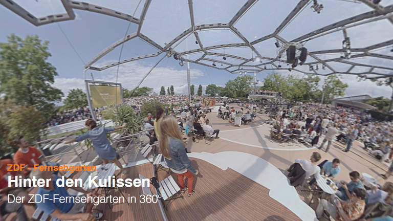 hinter den kulissen der zdf fernsehgarten in 360 zdfmediathek. Black Bedroom Furniture Sets. Home Design Ideas