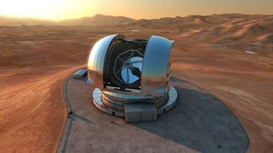 Grafik vom Atacama-Teleskop (wie es aussehen würde, wenn es fertig wäre)