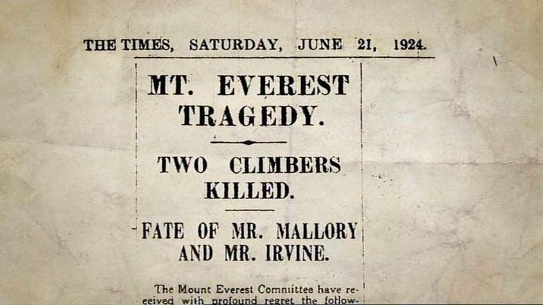 "Excerpt from ""The Times"" on the death of Mallory and Irvine"