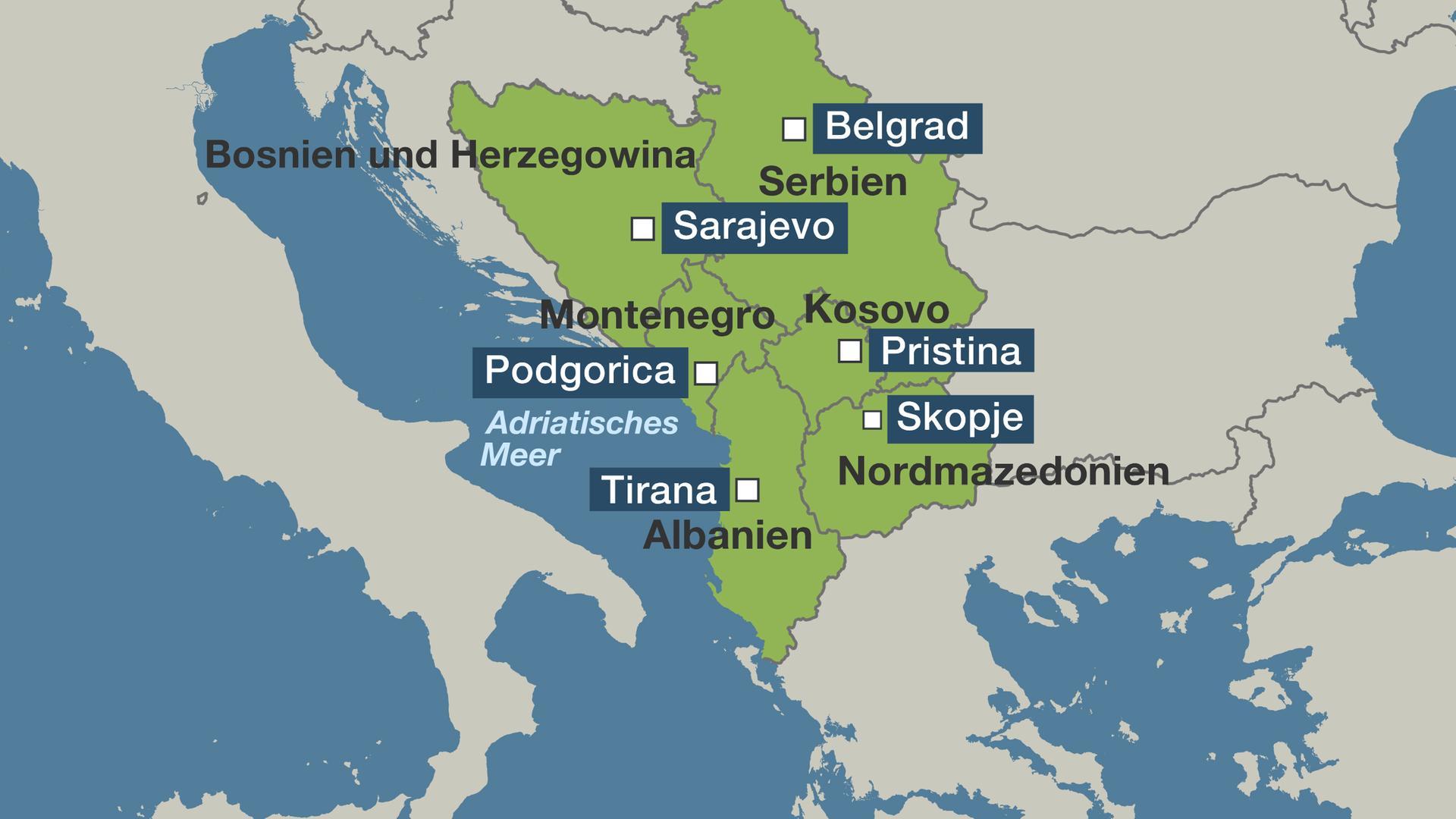 Karte: Balkan-Länder