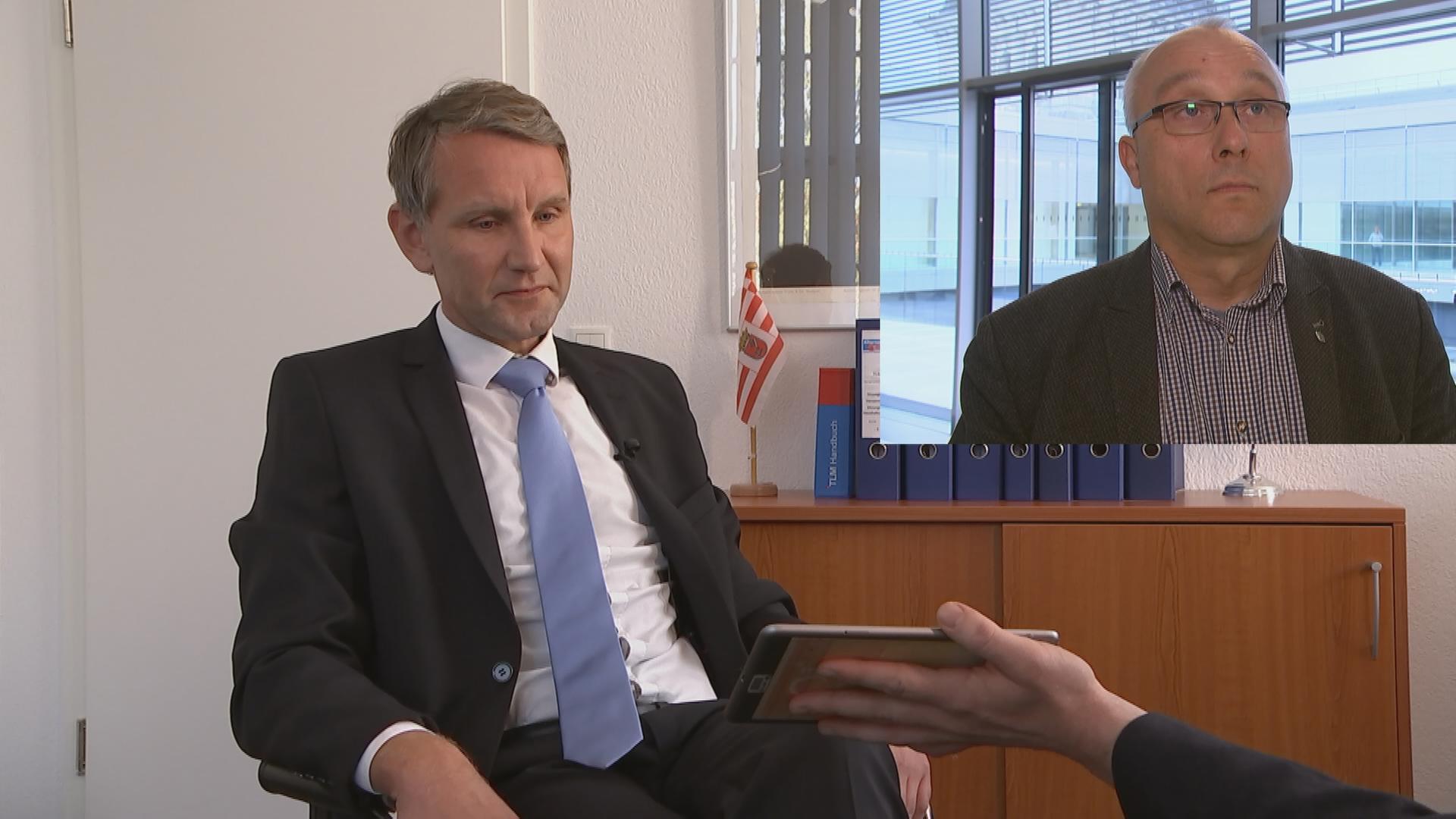 Björn Höcke in einer Interviewsituation
