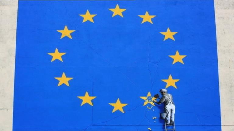 Grafik: EU-Fahne und Bauarbeiter