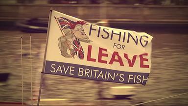 """Flagge mit Aufschrift: """"Save Britains Fish"""""""
