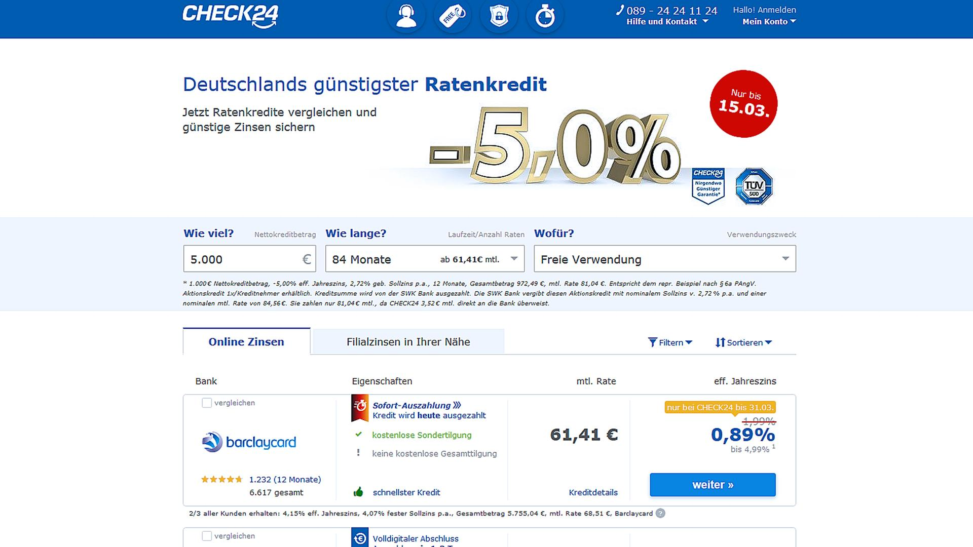 Screenshot Kreditvergleich Beim Online Portal Check