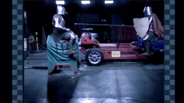 Clip-Vorschau: Ritter im Crash-Test - Simulation eines Ritterturniers bei einem wissenschaftliches Hightech- Experiment aus Welt der Ritter