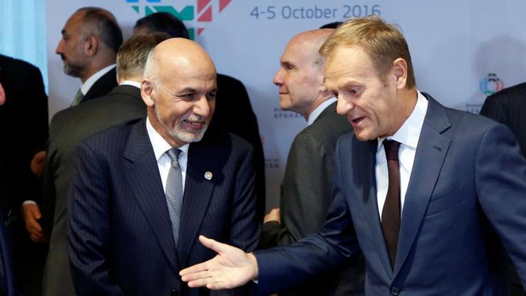 Der Afghanische Präsidemt Ghani und EU-Rats-Vorsitzender Tusk im Gespräch.