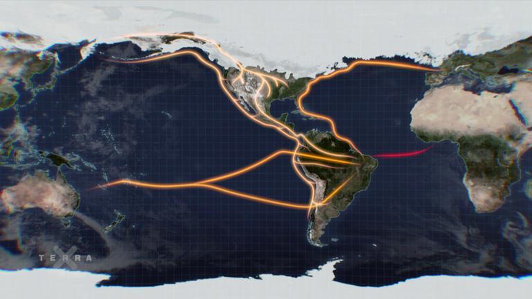Weltkarte: Mögliche Einwanderungsrouten nach Amerika