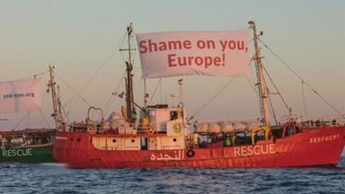 Proteste von NGOs im Mittelmeer.