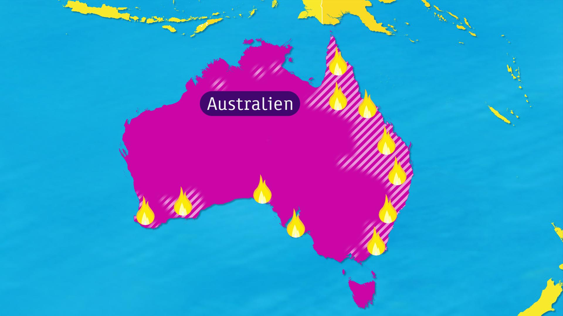 Buschbrände australien karte