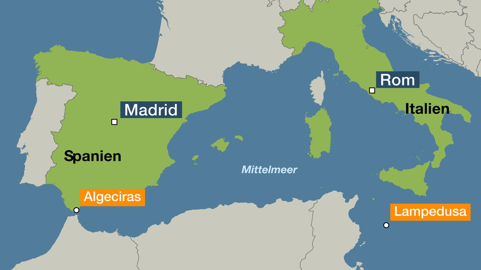Italien Karte Lampedusa.Gerangel Um Migrantenboot Fahrt Zu Balearen Fur Open Arms