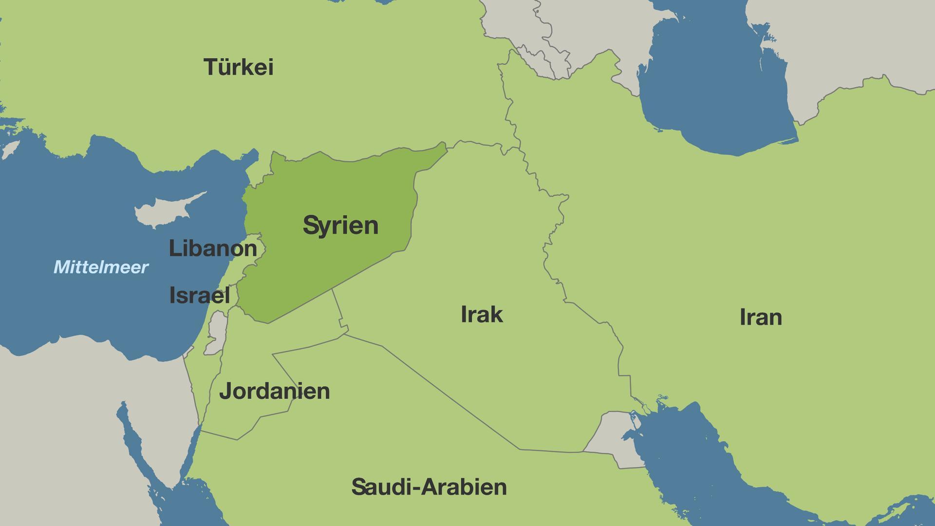 Syrien Irak Karte.Bürgerkriegsland Syrien Schlachtfeld Ausländischer Mächte