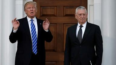 file picture of u.s. president-elect donald trump with retired marine gen. james mattis following their meeting at the main club
