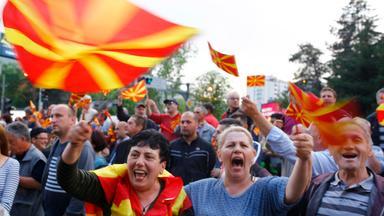 Demonstranten in Mazedonien.