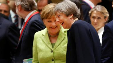 british prime minister theresa may and german chancellor angela merkel attend the eu summit in brussels, belgium, june 22, 2017.