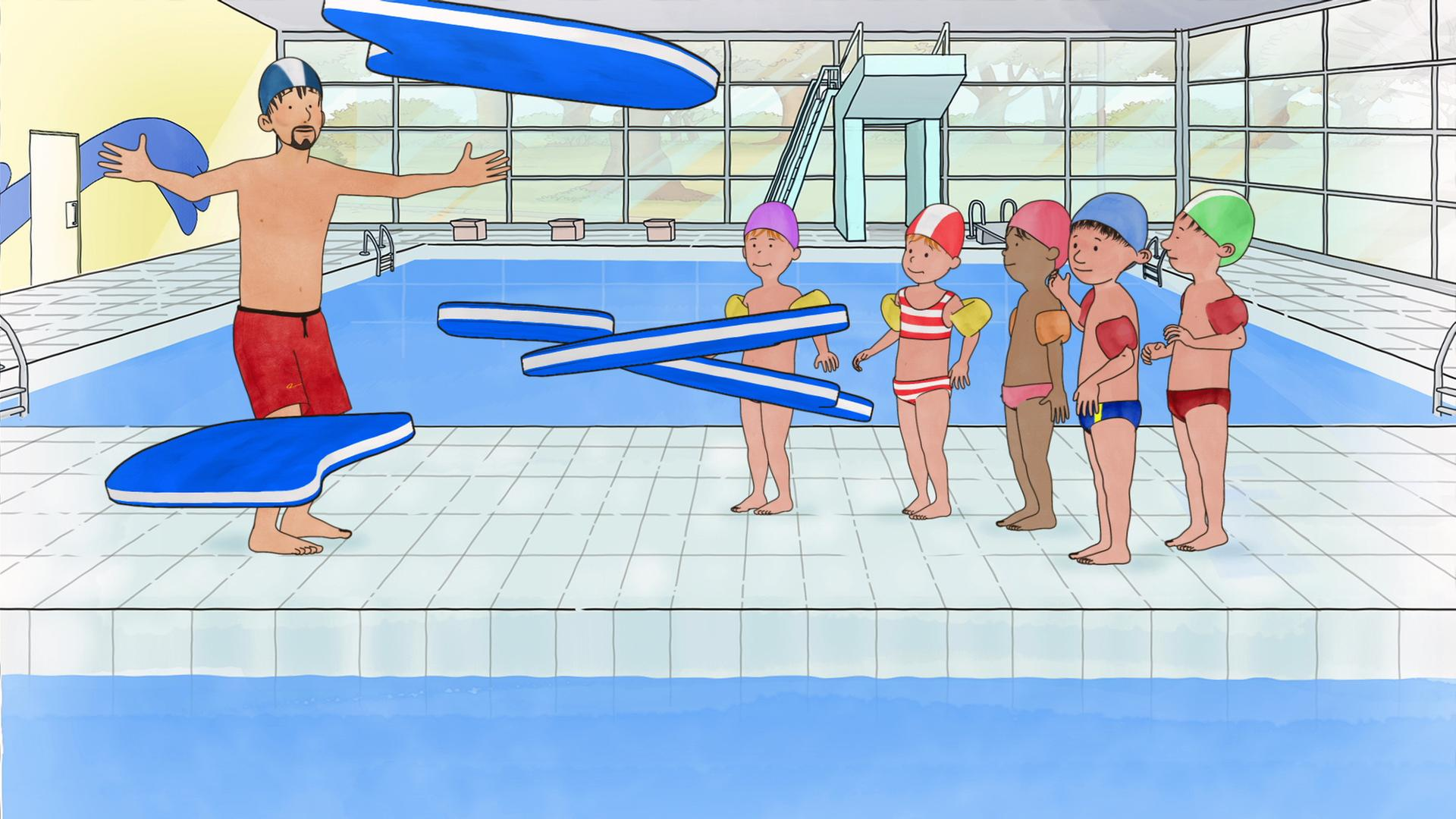 ausmalbild conni schwimmen  kinder zeichnen und ausmalen