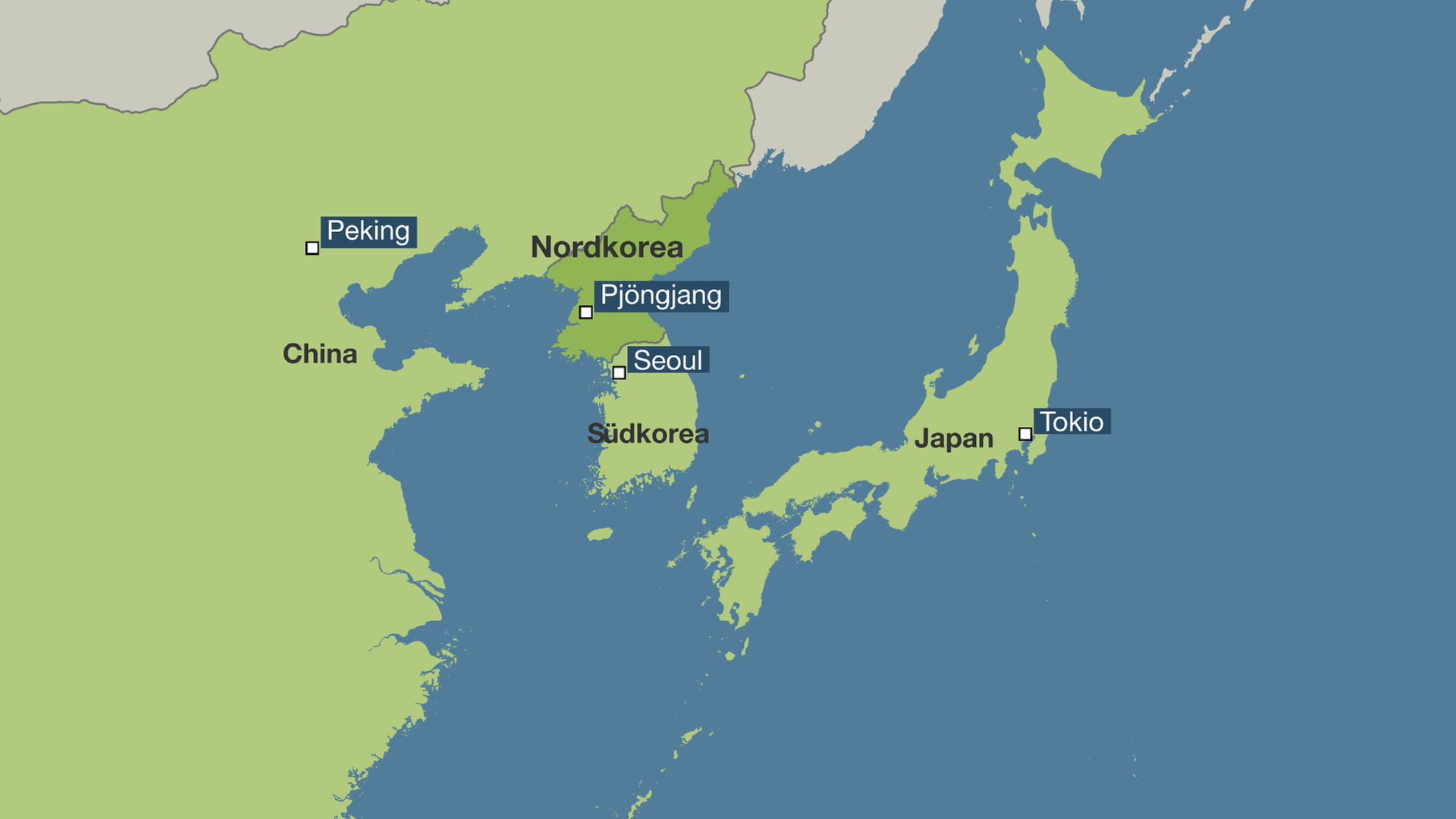 Südkorea Karte.Japan Südkorea Und China Positionen Von Nordkoreas Nachbarn