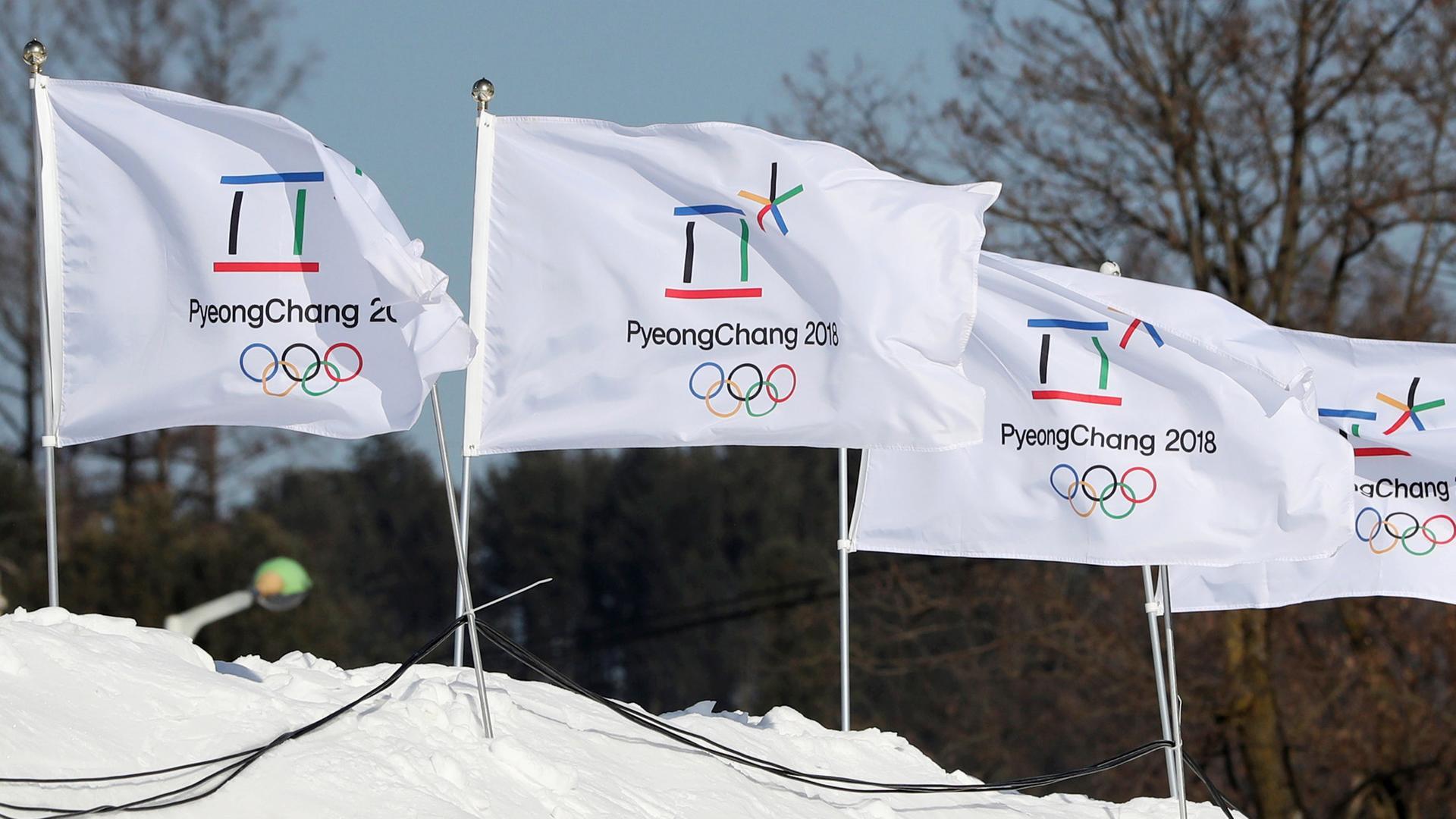 Flaggen für Olympischen Winterspiele 2018
