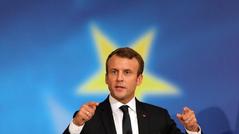 Macron spricht am 26.09.2017 über die Zukunft Europas.