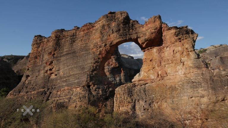 Landschaftsaufnahme aus dem Serra da Capivara-Nationalpark in Brasilien