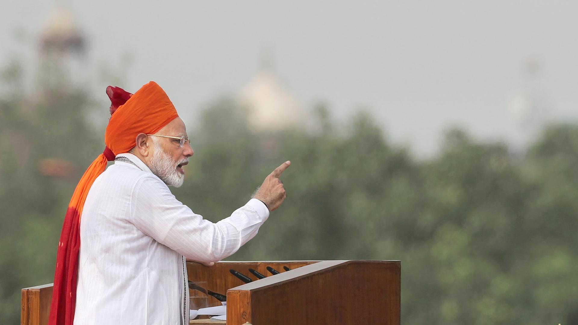 Narendra Modi bei einer Ansprache in Neu Delhi. Archivbild