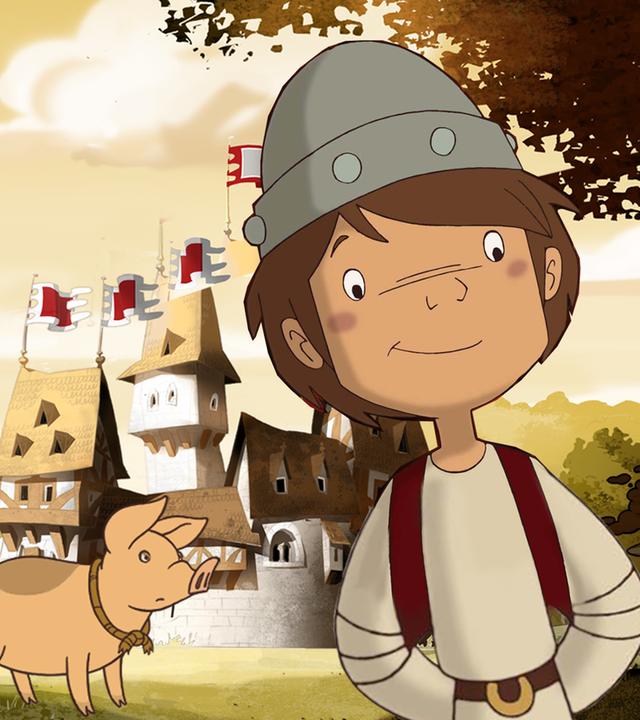 Ritter Trenk und Ferkelchen im Wald mit Blick auf Burg Hohenlob. Thekla zielt mit der Steinschleuder.