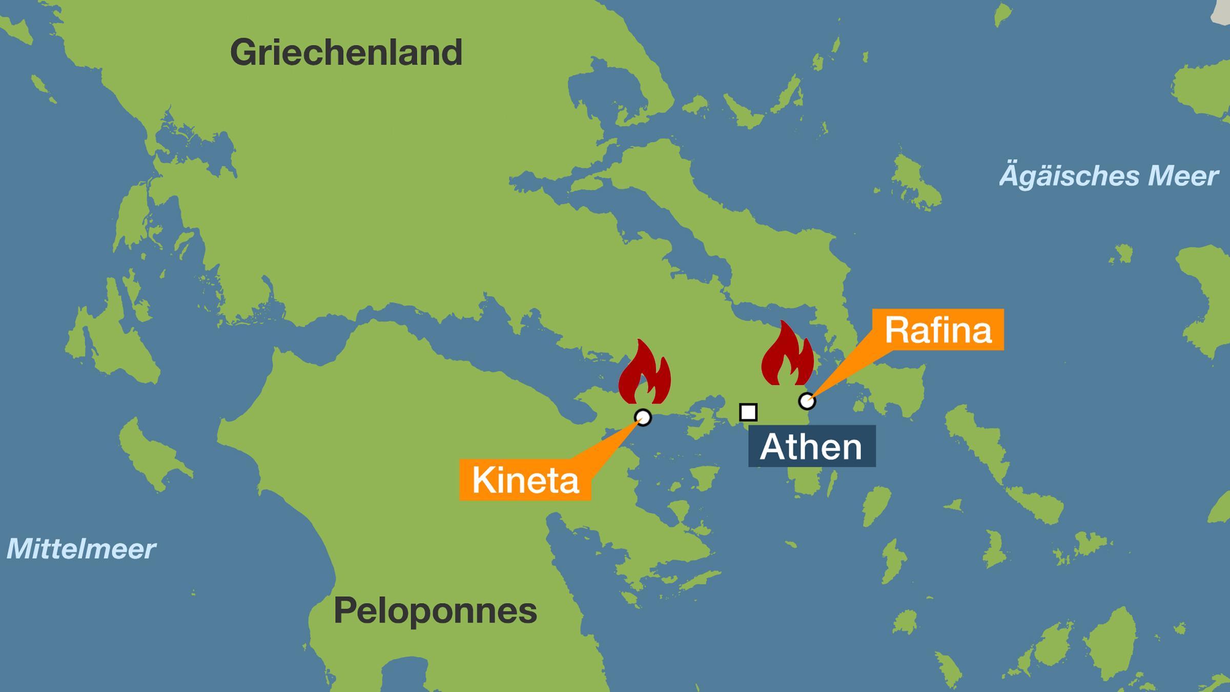 Karte Griechenland Peloponnes.Griechenland Mindestens 50 Tote Bei Waldbranden Um Athen