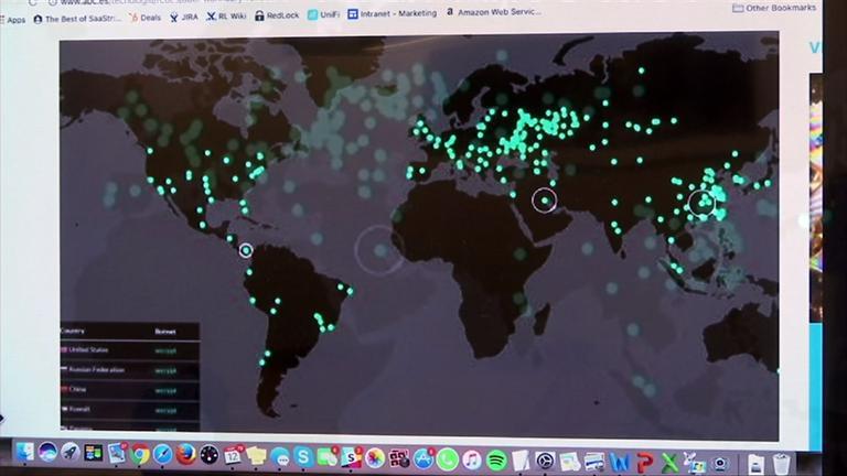 Eine Grafik, die die Attacken der Schadsoftware auf der Weltkarte verzeichnet