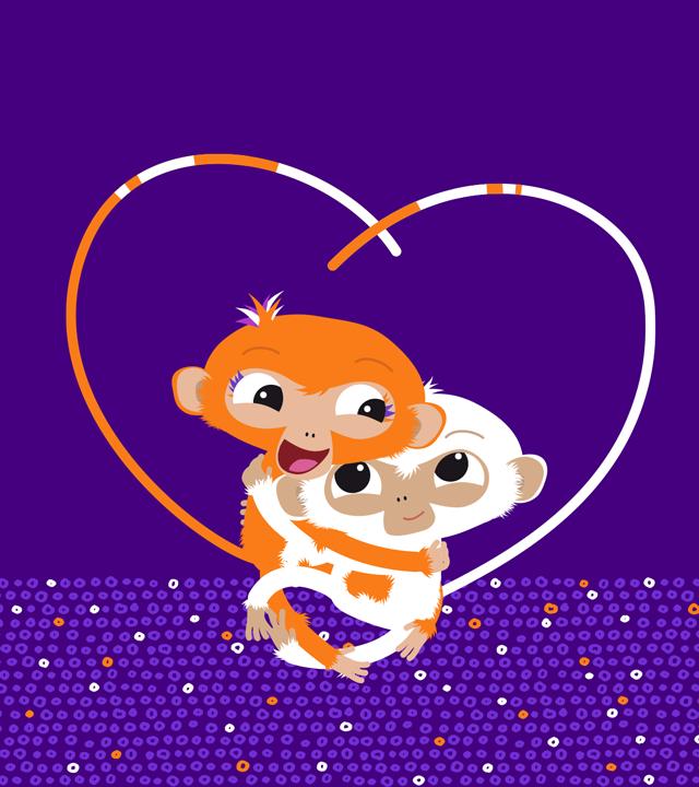 Die ZDFchen Milo und Mo sitzen auf dem ZDFchen-Logo und spielen Tauziehen mit ihren verknoteten Schwänzen